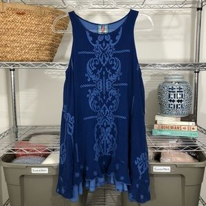 JOHNNY WAS | embroidered swing tunic dress blue S